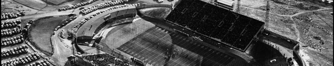 An aerial view of a football game at McMahon Stadium
