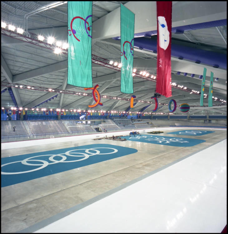 Olympic Oval during the 1988 Calgary Winter Olympics.