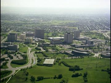 An aerial view of campus look southeast, 1972.
