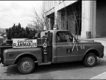 Safety Office pick-up truck used at the University of Calgary for hauling flammable material, 1975.