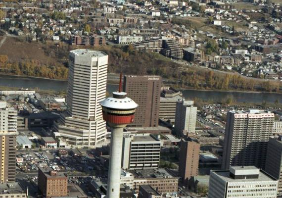 aerial photograph of downtown Calgary